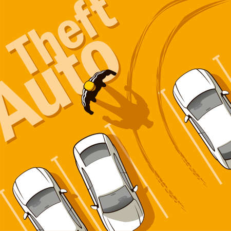 scene of a crime: Theft Auto  The owner discovers the theft of his car from the parking lot  Illustration