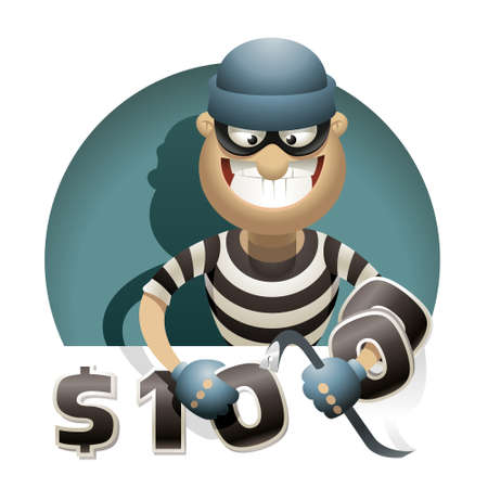 crowbar: Theft Money  Thief with a crowbar steals money, putting zeros on his hand