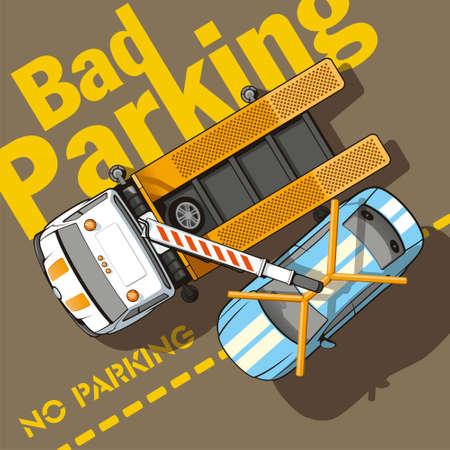 camion grua: Mal estacionamiento del carro de remolque quita un coche por mal estacionamiento