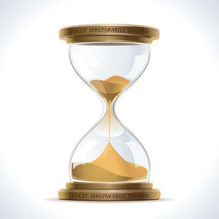 金属製のスタンドにガラス フラスコで砂時計ヴィンテージのイラスト  イラスト・ベクター素材