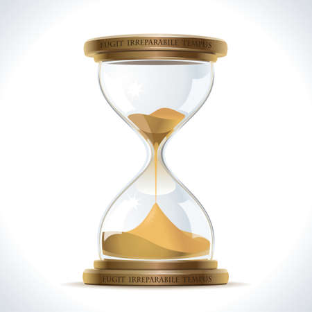 reloj de arena: Ilustración de reloj de arena de la vendimia en un frasco de vidrio sobre un soporte de metal