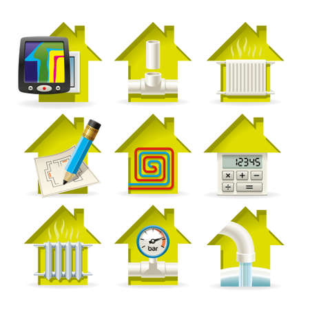 Icons installation of heating equipment for residential home Ilustrace