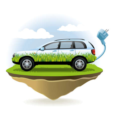 Environmentally friendly vehicles fits well into the environment  Illustration