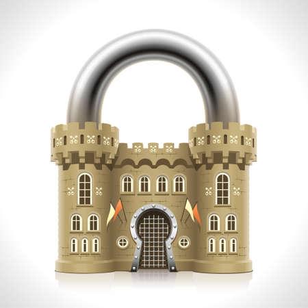 Protection fiable à la maison que les murs épais d'un château médiéval sous la forme d'un cadenas