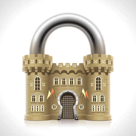home  insurance: Reliable protection at home as thick walls of a medieval castle in the form of a padlock
