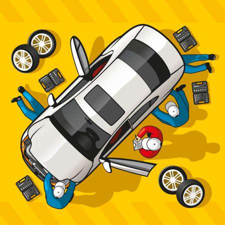 carro caricatura: La mec�nica del equipo de reparaci�n de un coche en una estaci�n de servicio