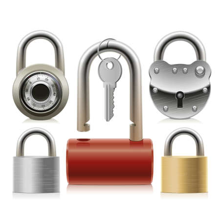 Set of padlocks of different designs and sizes from thieves and intruders