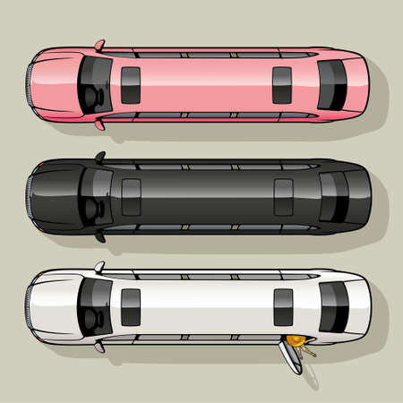 limousine: Three long luxury limousine for special occasions  Illustration