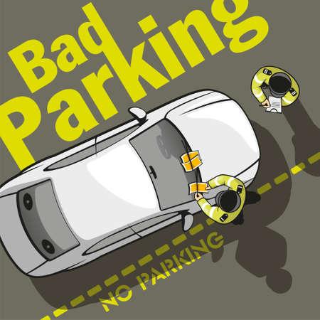 2 人の警官が駐車場を排出車の所有者に罰金し、チケットをフロント ガラスにこだわる。  イラスト・ベクター素材