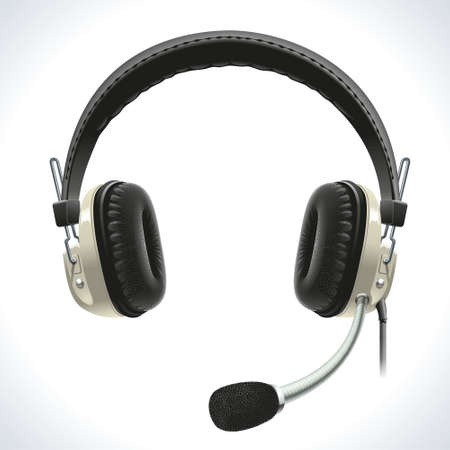 Old vintage stereo headset with microphone for hands-free communication. Vector
