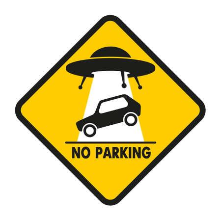 UFO ontvoert verkeerd geparkeerde auto Stock Illustratie