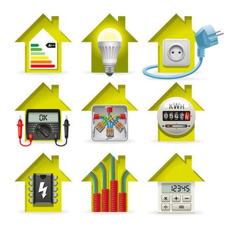 Iconos instalación de equipos eléctricos y el cableado de la casa Vectores