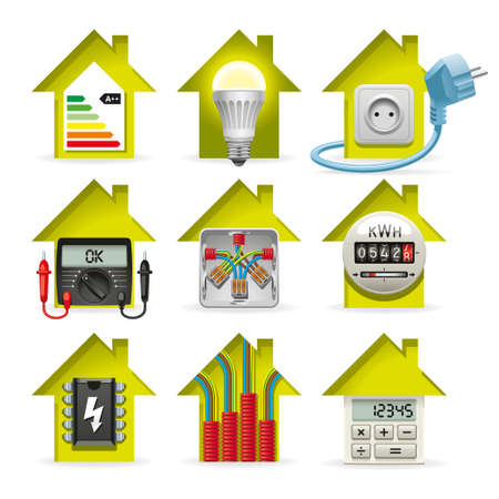 Icons installation of electrical equipment and wiring in the house