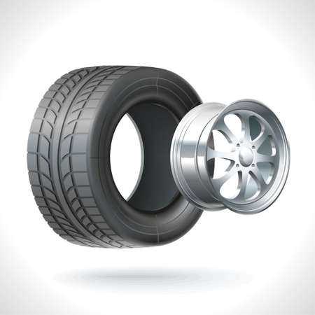 axle: Car wheel unassembled - tires and wheels on the same axle
