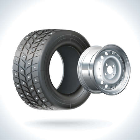 winter tires: Winter car wheel unassembled - tires and wheels on the same axle Illustration