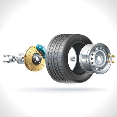 예비의: 차량 바퀴의 해부학은 하나의 축에 배치