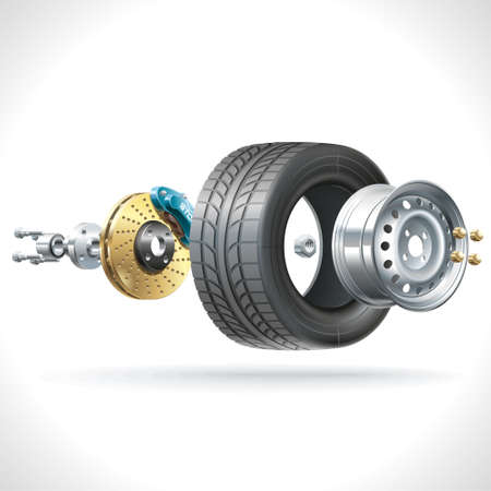 vehicle part: Anatomy of a vehicle wheel disposed on one axis