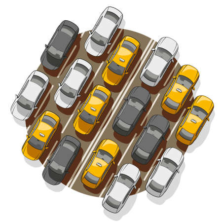 Top view on a lot of cars standing in a traffic jam. Ilustração