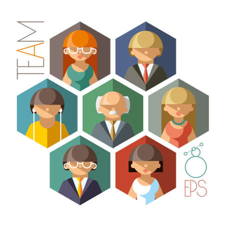 cohesive: Illustration of a cohesive and professional team of employees Illustration