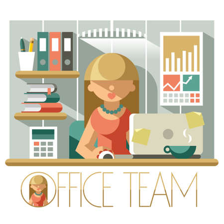 bookkeeper: Flat illustration woman accountant in the office workplace Illustration