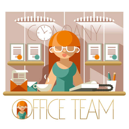 secretary office: Flat illustration of a woman secretary in the workplace