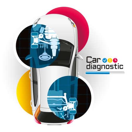 Illustratie voertuig diagnostiek met behulp van de X-ray