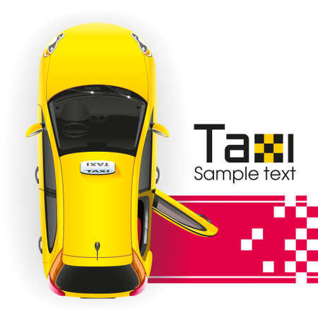 Yellow taxi with the door open will have a very important person on the red carpet