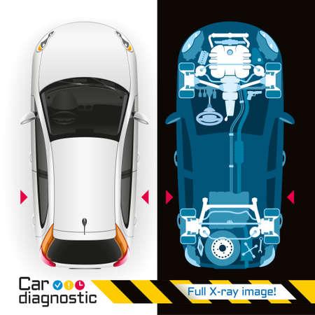 Illustration Fahrzeugdiagnose mit Hilfe der Röntgen-