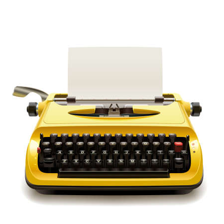 typewriter machine: Yellow vintage typewriter with a blank sheet of paper