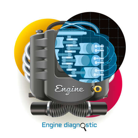 X-ray diagnostics of internal combustion engine of the vehicle Ilustração
