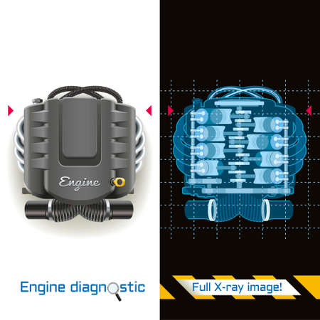 Conceptual illustration of engine diagnostics. X-ray image of the internal combustion engine.