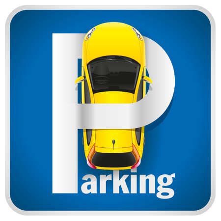 Unusual illustration parking sign combined with a yellow car