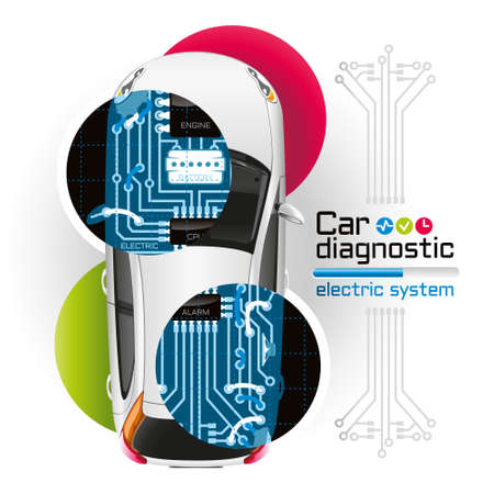 Diagnosis of electrical components of the car in the form of printed circuit board is illuminated by X-rays.