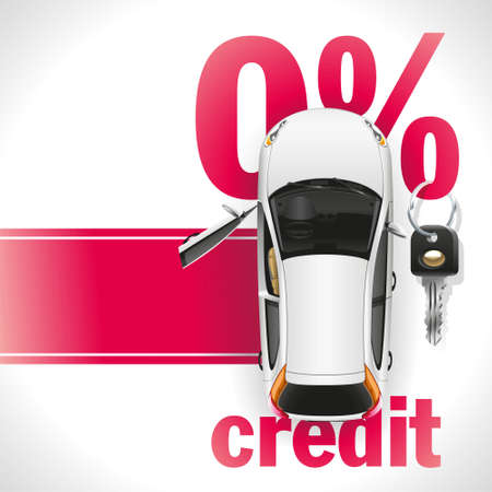 sales bank: New white car with open front door standing on the red carpet. Against the background of a red font written zero interest rate on the loan. On the percent symbol hanging black ignition key.