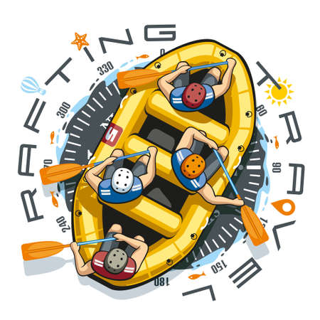 Against the background of a round compass in a yellow inflatable boat rafting sit four men in helmets and life jackets. People are holding paddles and work together.