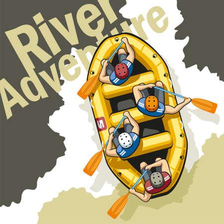 deportes colectivos: En el r�o de monta�a en bruto en una balsa bote inflable amarillo sentarse cuatro hombres con cascos y chalecos salvavidas. Las personas son la celebraci�n de remos y trabajan juntos.