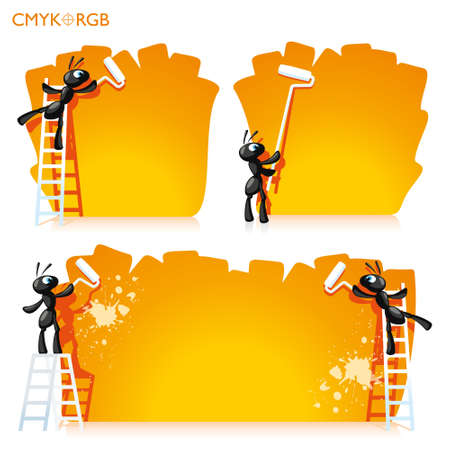 vivid color: Two cheerful ant painted walls in vivid color Illustration