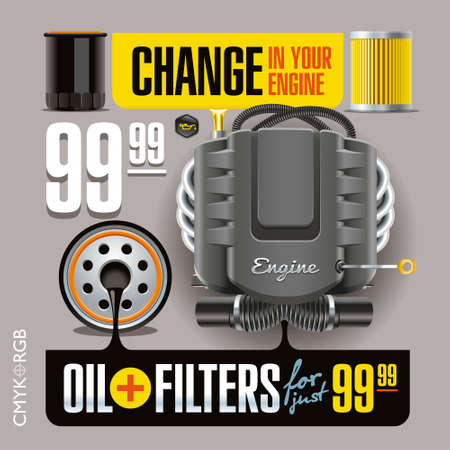 illustrates: Advertising banner illustrates the replacement of oil and filters Illustration