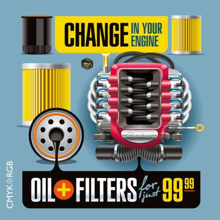 Banner publicitario ilustra la sustitución del aceite y filtros Foto de archivo - 50353043