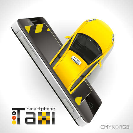 mobile app: Yellow car taxi leaves from the screen of your smartphone