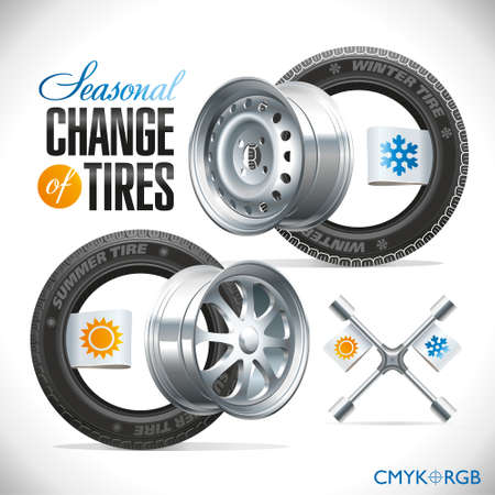 snow tires: Replacement tires for the season specified on the label wheel Illustration