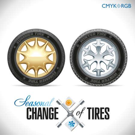 estaciones del año: Ruedas y neumáticos para una temporada determinada Vectores