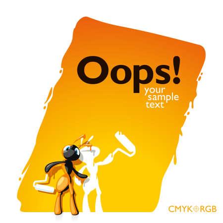hormiga caricatura: No notado hormigas y pintado junto con la pared. El resultado fue un mensaje divertido a trav�s. Vectores