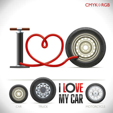 inflate: The pump hose is curved in the form of heart and formed the phrase I love my car Illustration
