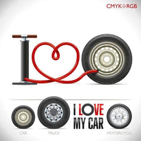 """Wąż pompy jest zakrzywiona w formie serca i utworzyły frazę """"Kocham mój samochód"""""""