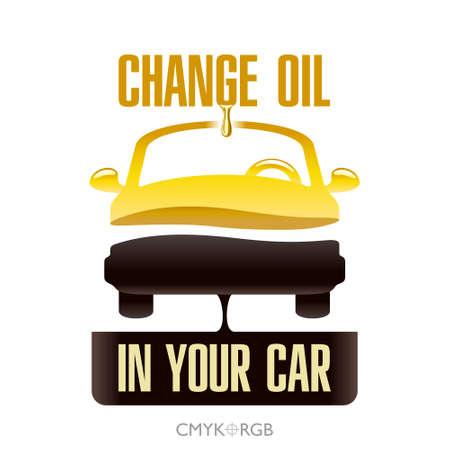 Grafische illustratie van de motorolie verandering in uw auto. Pictogram van een voertuig gedeeld door twee lagen van de vloeistof. Nieuwe olie en afgewerkte olie.