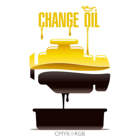 Evident illustration of replacement motor oil in an internal combustion engine. The icon of the engine is formed by layers of the new and fulfilled oil.  イラスト・ベクター素材