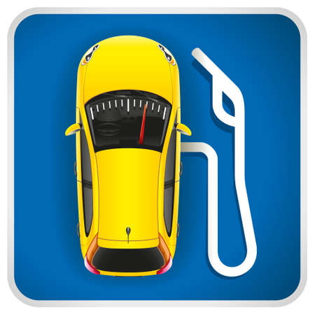 benzine: Unusual illustration of a road sign of gas station.  The car in the form of the gas station with an arrow and the refuel gun. Illustration