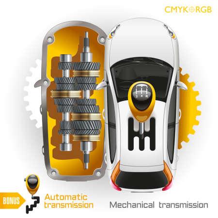 La palanca de la conmutación de las velocidades sobresale de un techo del coche. La parte superior de la caja del coche es un cambio de marchas tapa de la caja. En la parte inferior de la caja del automóvil el mecanismo de conmutación se encuentra. transmisiones mecánicas y automáticas. Ilustración de vector