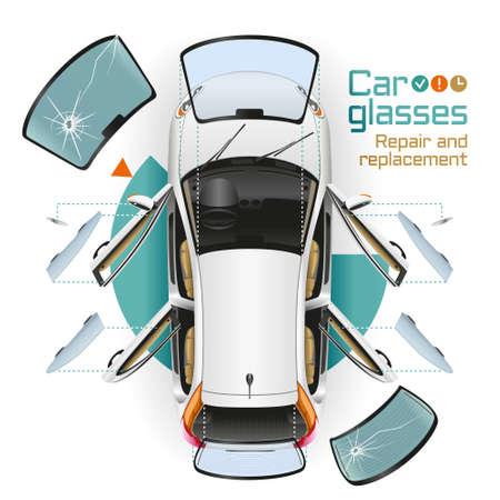 garage automobile: Dans la voiture blanche avec des portes ouvertes à la station de service de changement avant, arrière et vitres latérales, rétroviseurs. Les verres cassés se trouvent à proximité.